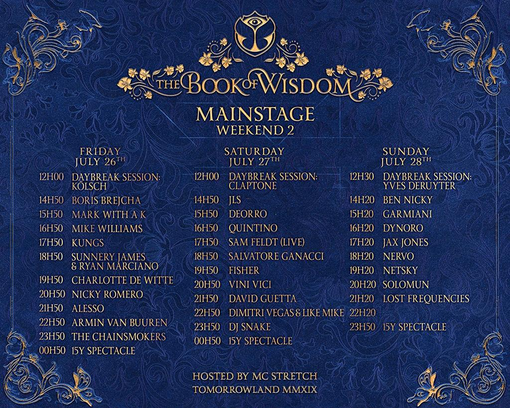 Tomorrowland Mianstage schedule weekend 2