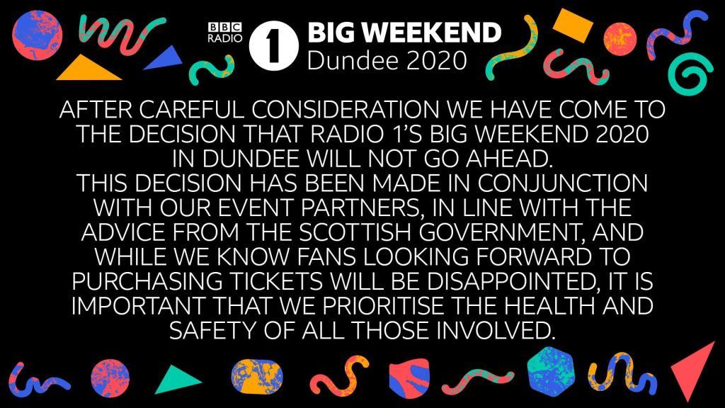 BBC Radio 1 BIG WEEKEND official statement