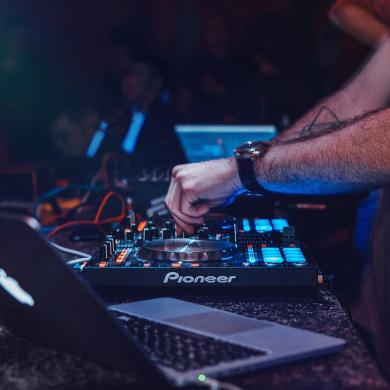 Person Playing Dj Turntable