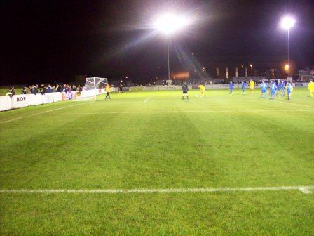 Grassy knoll on left as Bangor take a penalty