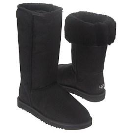 Black furry boots