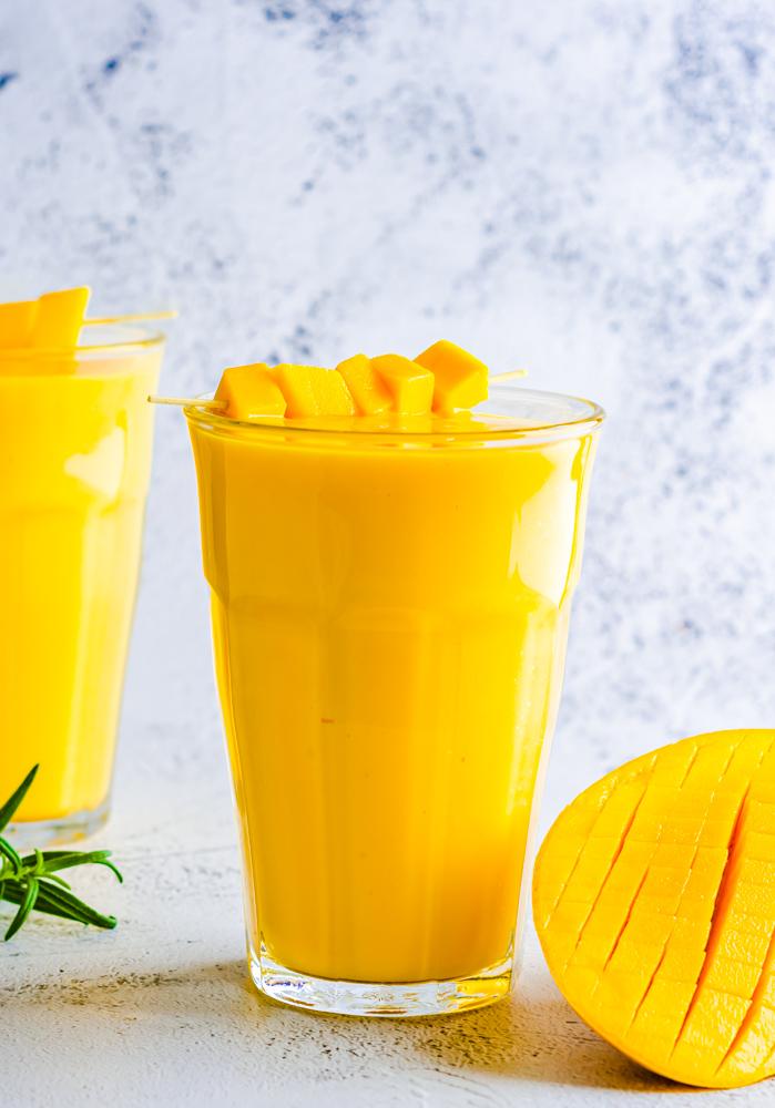 Mango Lassi (shake) in a glass.