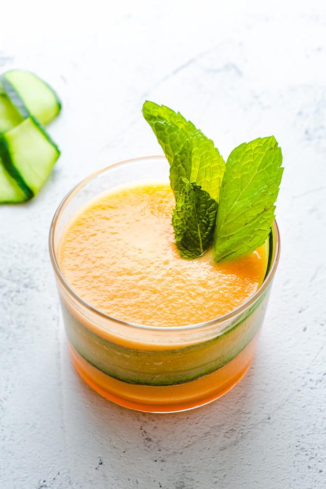 Cantaloupe Aqua Fresca in a small glass