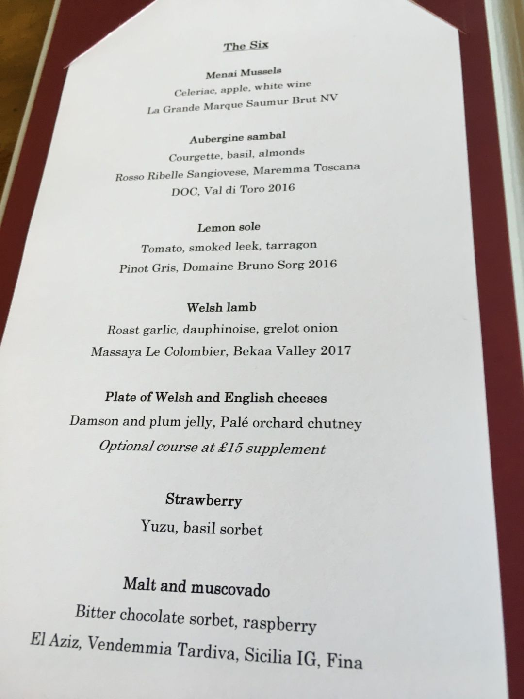 Pale Hall Tasting Menu