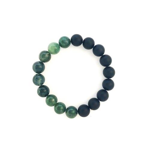 10mm Green Moss Agate Onyx Bracelet