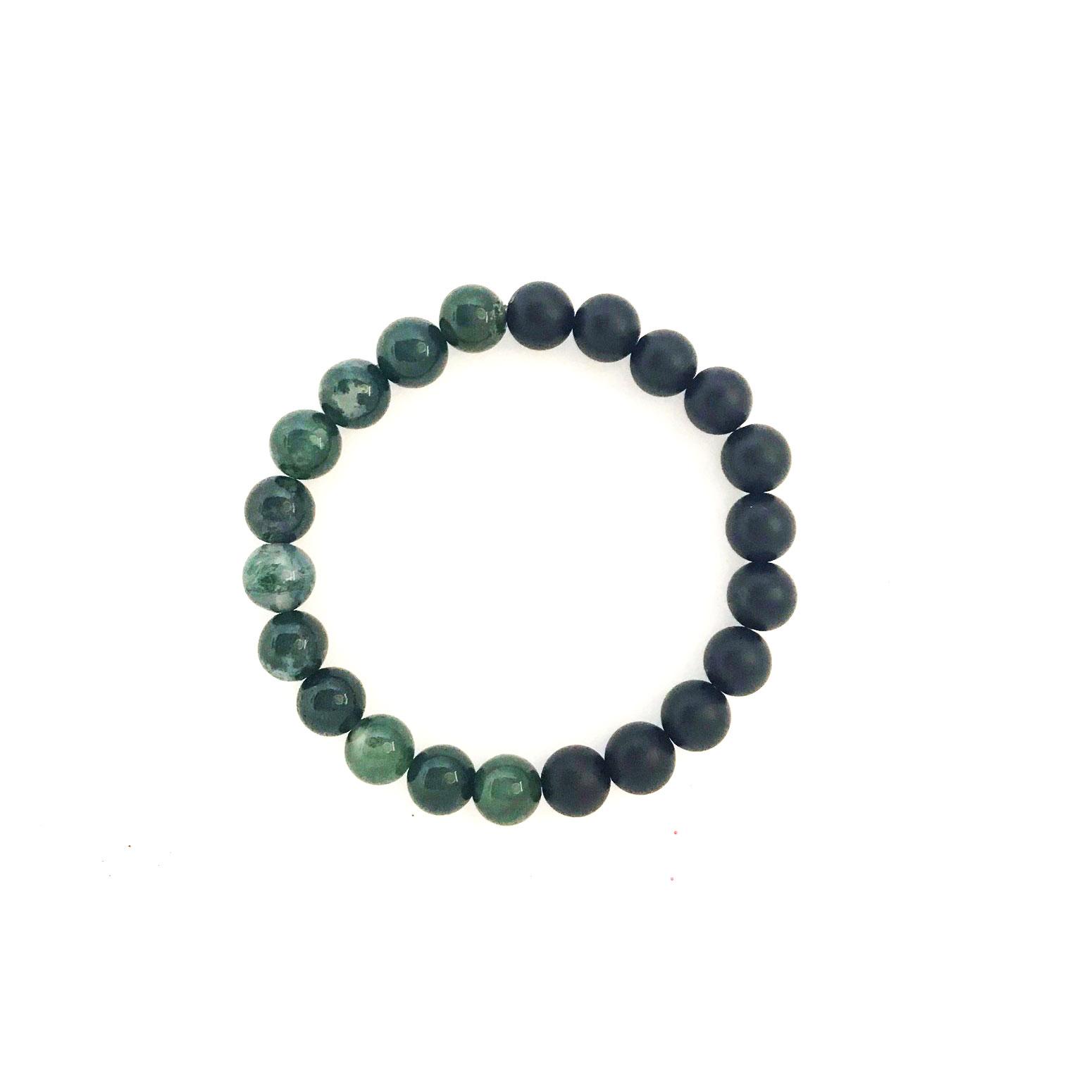 8mm Green Moss Agate Onyx Bracelet