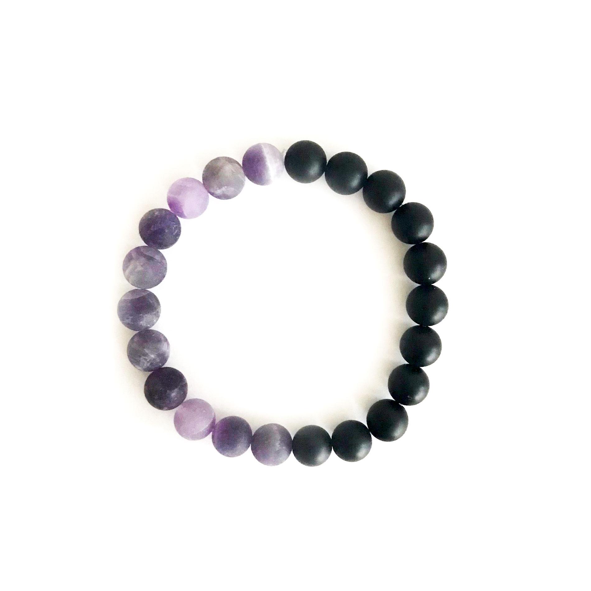 Amethyst /& Onyx Beaded Bracelet