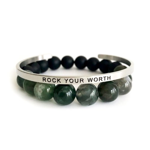 Rock Your Worth 10mm Green Moss Agate & Onyx