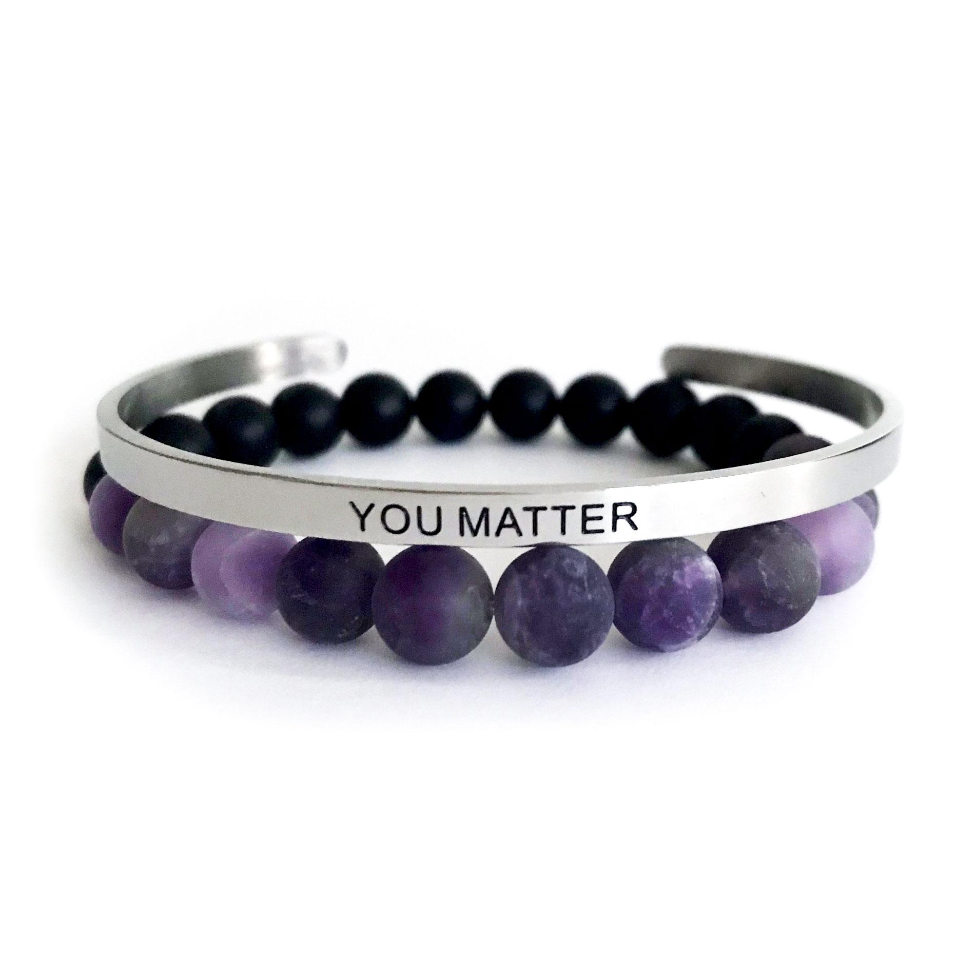 8mm Matte Amethyst & Onyx Bracelet