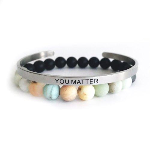 8mm Matte Amazonite & Onyx Bracelet
