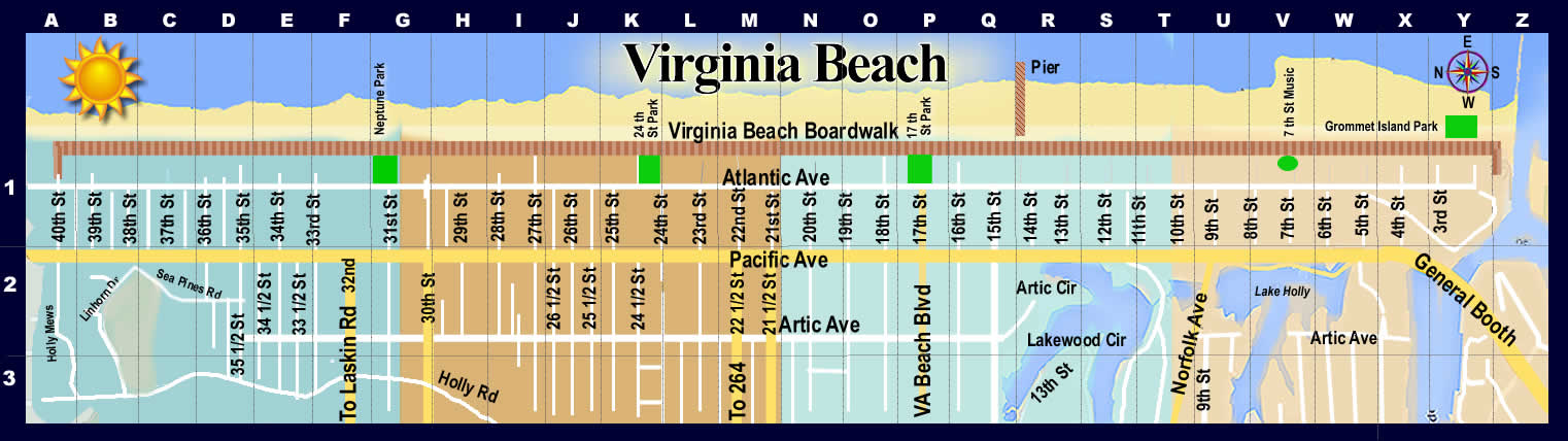 Virginia Beach Oceanfront Hotels Inns Motels Resorts reviews Map