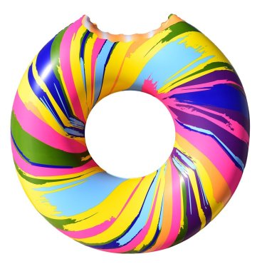 Giant Rainbow Swirl Donut Pool Float $17.95