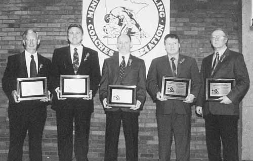 Hall of Fame Inductees (L-R): Bill Bredeson, Byron Olson, Eugene Hildebrandt, Harlan Leopold, Bob Thorson.