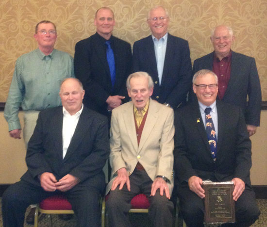Mayo Civic Center Region 1 Wrestling Hall of Fame 2014 Class. Front Row: Steve Rice (2013), Lou Ohly, and Bill Frame. Back Row: Dave Cummings, Jerry Reker, Pete Veldman, and Dave Frame. Not Pictured: Ron Jacobsen and The late Gordon Paschka. Photo courtesy of Spencer Yohe.