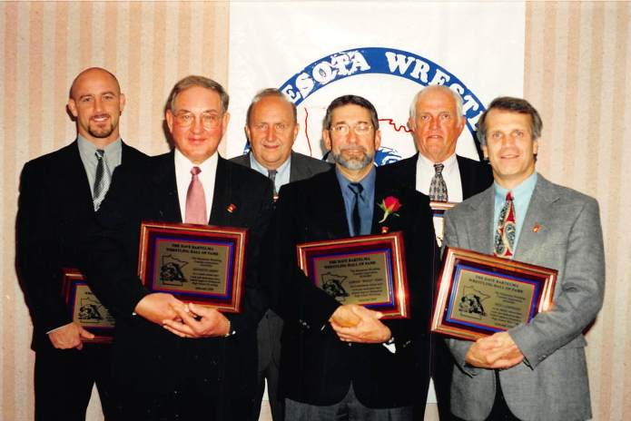 Hall of Fame inductees. Front (L-R): Kenneth Ebert, Woody Ferry, Reid Lamphere, Back (L-R): Marty Morgan, Bill Brunner, Jack Willhite.