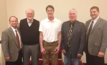 Mayo Civic Center Region 1 Wrestling Hall of Fame 2014 Class (L-R): Tim Shiels, Larry Thompson, Joel Viss, Rick Ties, and Chris Nelson. Larry Kihlstadius was not able to attend and will be honored next year.