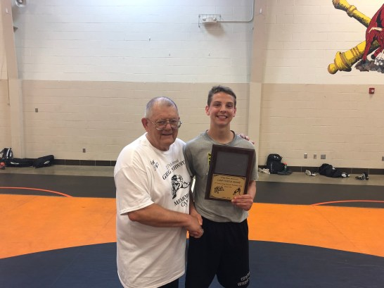 Greg Schwartz Memorial Wrestling Camp Craig Olsen Camp Hustle Award went to Zach Haire of Breckenridge. Presented by Spencer Yohe.