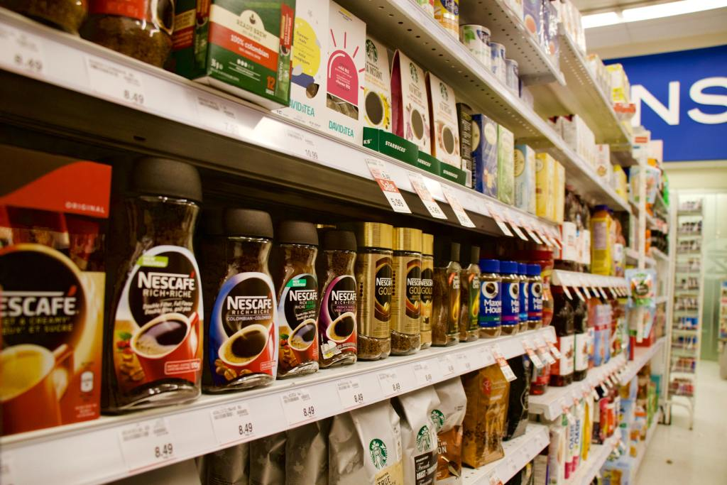 grocery aisle with instant Nescafe coffee