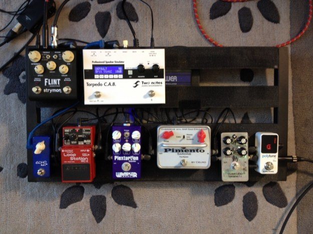 Pedal board used for the review of the Relish guitar