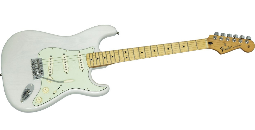The Fender FSR Ash Noiseless Stratocaster Transparent White