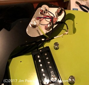 The Gibson M2 in Citron Green. Pickguard electronics exposed, pic 2. Photograph by VividPeace.com