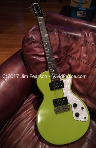The Gibson M2 in Citron Green: long front guitar view. Photograph by VividPeace.com