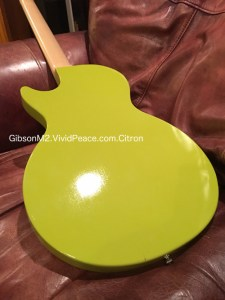 The Gibson M2 in Citron Green: alternative back guitar view. Photograph by VividPeace.com