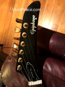 Headstock front detail of my 1999 Epiphone Korina Explorer