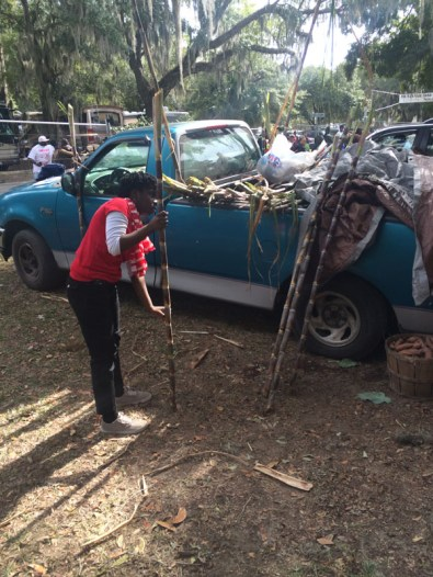 Jordan Johnson breaks down sugarcane to sell to customers at the Heritage Day Festival.