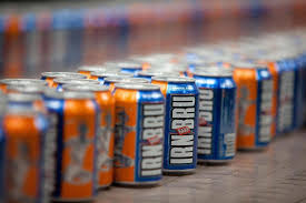 Rows of cans of Irn Bru, one of Scotland's much beloved foods and drinks