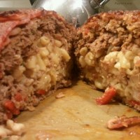 Mac 'n Cheese Stuffed Bacon Wrapped Meatloaf