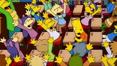 Simpsons class cheering after Bart says the line