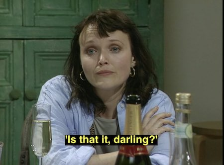 Scene from Absolutely Fabulous with Miranda Richardson overhearing someone say is that it darling