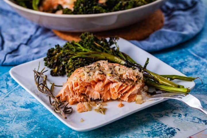 BUTTERY BAKED SALMON WITH BABY BROCCOLI by MyChefsApron.com