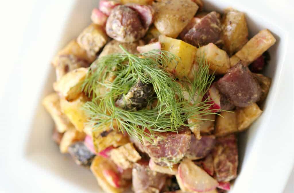 Tahini Celeriac Potato Salad by strengthandsunshine.com