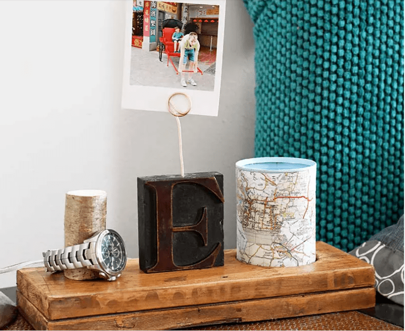 A Unique Nightstand Caddy, A DIY Fathers Day Gift by pillarboxblue.com