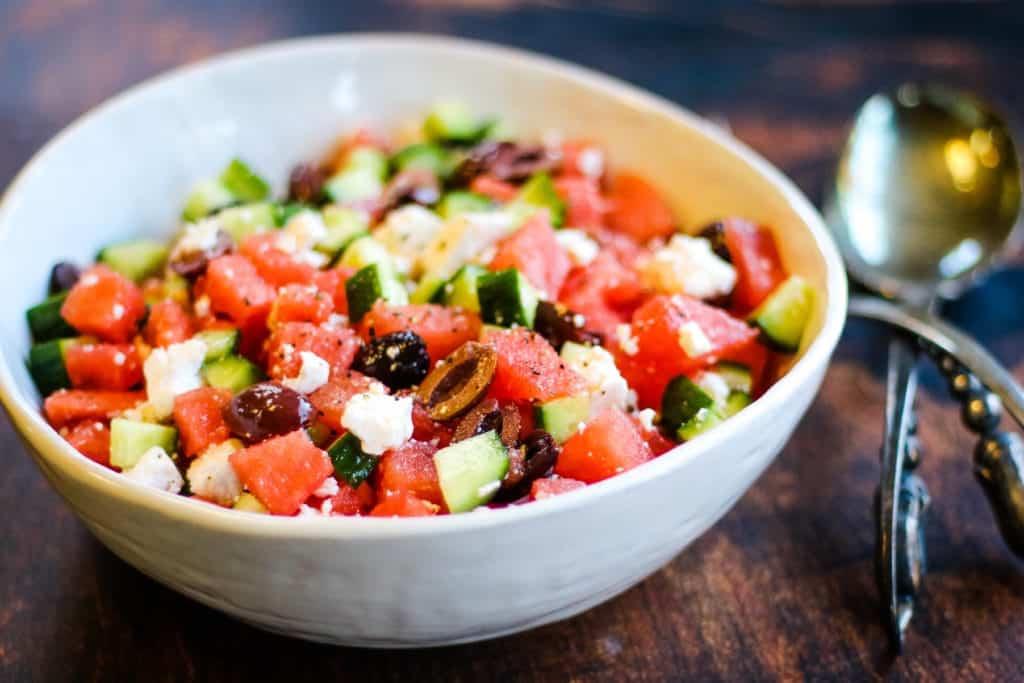 5-Ingredient Watermelon Feta Salad by allwaysdelicious.com