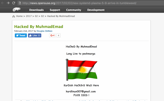 Screenshot of news.openSUSE.com defacement by MuhamadEmad