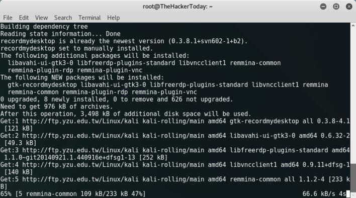 Install Recordmydesktop and Reminna Remote Desktop Client