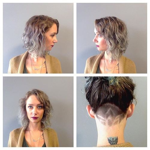 Grey Curved Bob with Shaved Nape