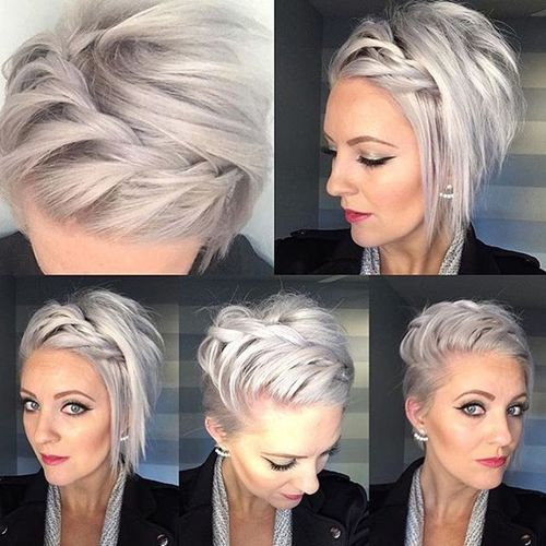 Light Grey Bob with Twisted Braid