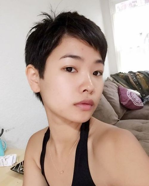black haircut with oblique bangs