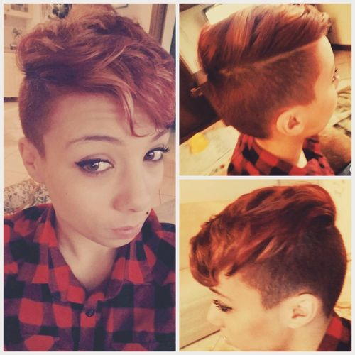 red messy short mohawk
