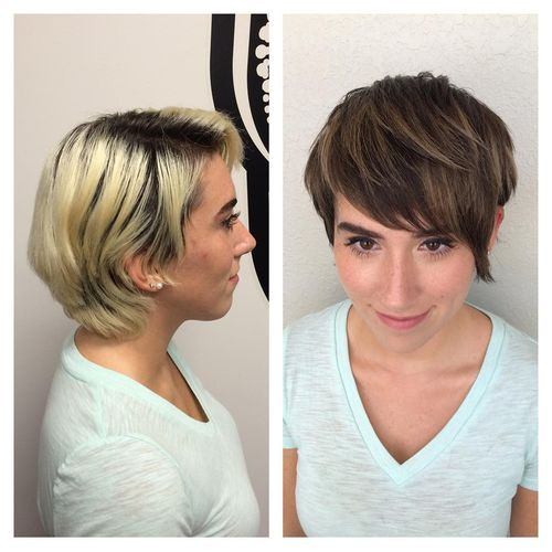 Blond Pixie with Oblique Fringe and Black Roots