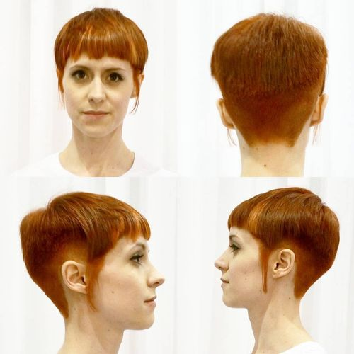 strict pixie haircut copper red