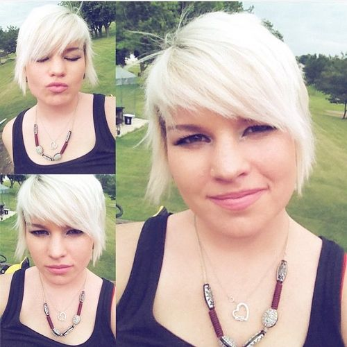 White Pixie with Oblique Fringe