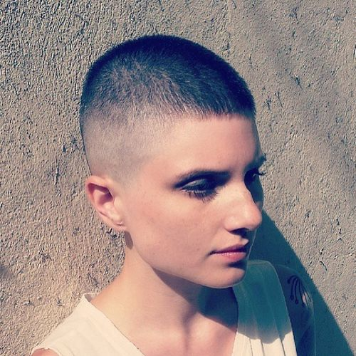 black very short hair with shaved temples