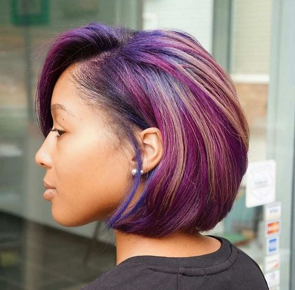 Awesome short black hairstyles with color 1