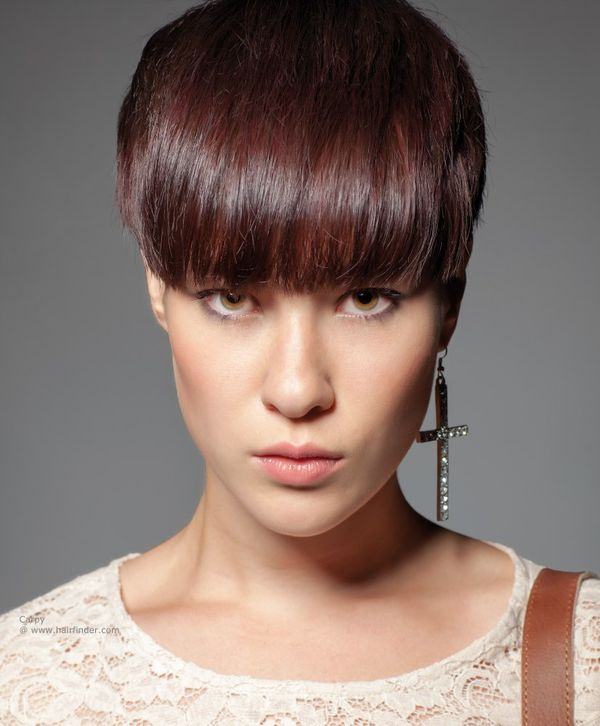 Short Length Hairstyles with Blunt Bangs 1