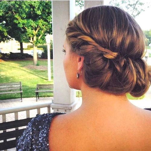 Dark and light brown greek updo hairstyle